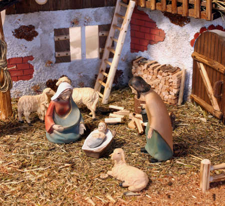 creche: Neapolitan nativity scene with baby Jesus Mary and Joseph in the manger Stock Photo