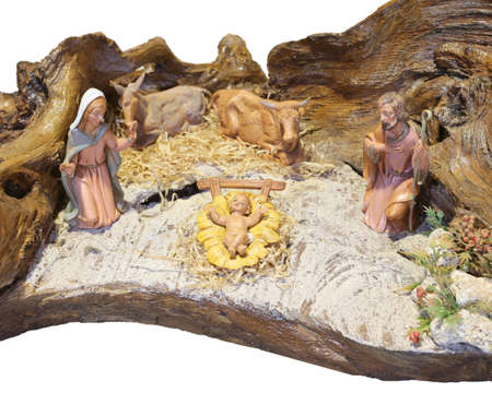 creche: italian nativity scene with baby Jesus Mary and Joseph in the manger