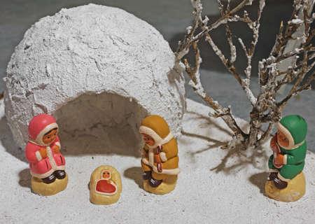 esquimales: escena de la natividad con los esquimales con iglú