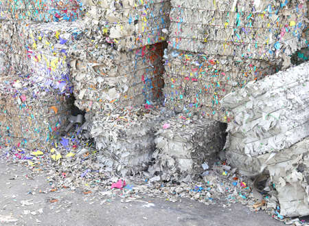 paper mill: HUGE heaps of waste paper in the paper mill for the production of recycled paper