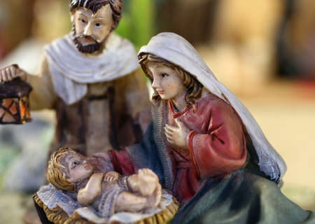 jesus mary joseph: classic Neapolitan nativity scene with baby Jesus Mary and Joseph