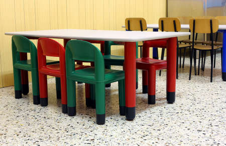 day care center: small colored tables and chairs in the dining room of the kindergarten canteen