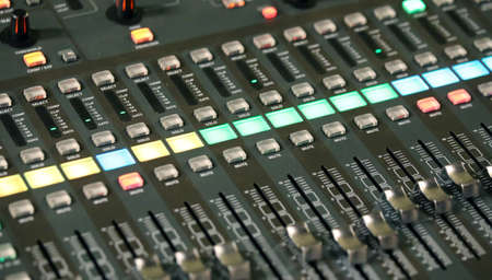 sonorous: mixing console of a complicated system hi fi during rock concert