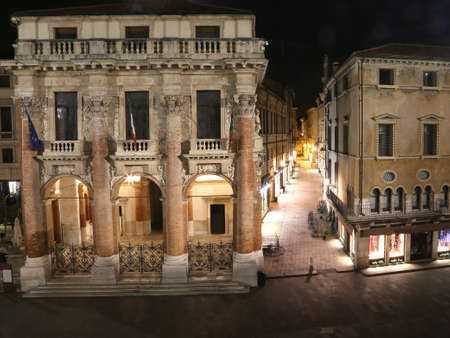 night vision: Night vision of the main square of the city of Vicenza called Piazza dei Signori and the Town Hall