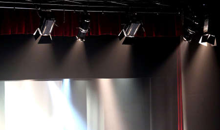 lighting system: powerful spotlight projectors in theater stage