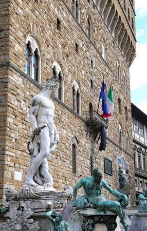 signoria square: Fountain of Neptune  in Florence and Palazzo Vecchio