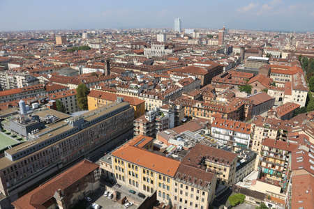 demografia: aerial view of a European metropolis with many roofs