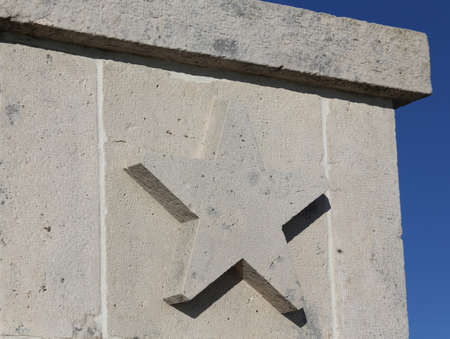 big five: big five pointed star carved in stone