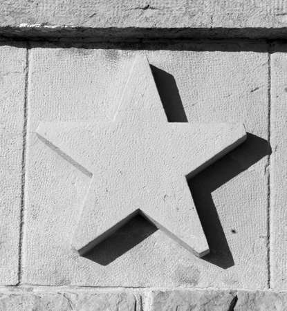 pointed: large five pointed star carved in stone Stock Photo