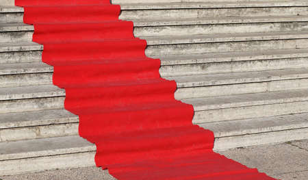 red star: red carpet for the catwalk of celebrities along the staircase