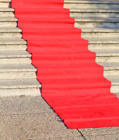 long red carpet for the catwalk of celebrities along the marble staircase