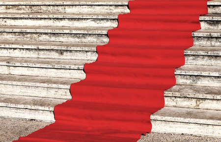 favored: red carpet for the catwalk of celebrities along the marble staircase Stock Photo