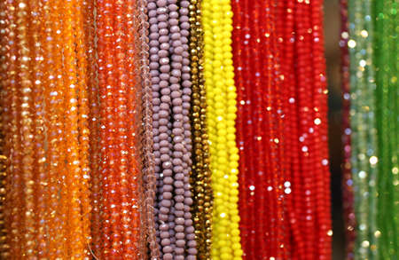 flea market: many beaded necklaces for sale at the flea market