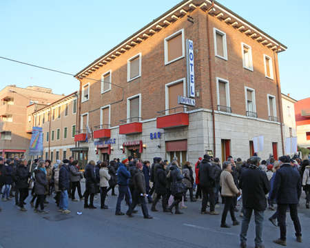 authorities: Vicenza (VI) Italy. 1st January 2016. Peace March along the streets of Italian city with many people and authorities near Adele Hotel with migrants