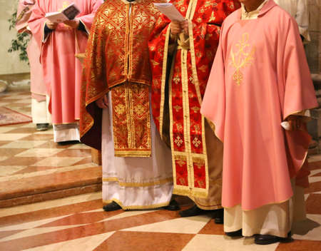 sotana: Vicenza (VI) Italy. 12 December 2015. Priests and bishops with the cassock during Mass for the opening of the Holy Door in the Cathedral