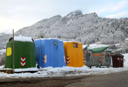 many bins for the collection of waste in the mountain town 写真素材