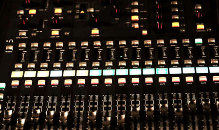 leds: Audio Control surface of a big HiFi system with many leds and buttons Foto de archivo