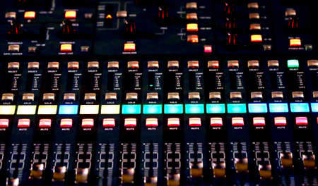 audio: Audio Control surface of a great HiFi system with many leds and buttons Stock Photo