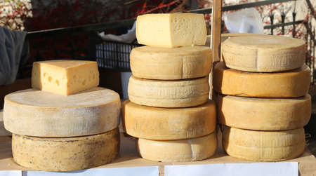 hard sell: fresh cheeses and aged cheeses on sale in the food market