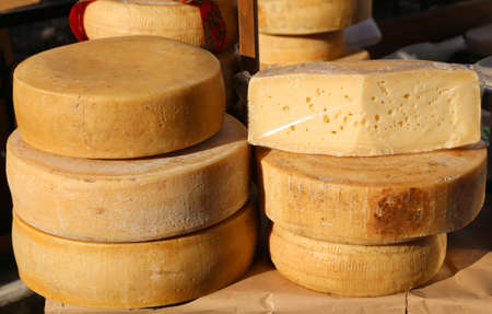 Many cheeses and aged cheeses on sale in the food market
