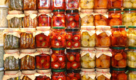 preserve: stall southern Italy with pots of peppers and anchovies in olive oil
