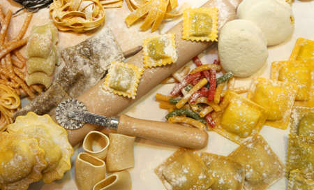 homemaking: many  fresh homemade pasta in Italy with egg and flour