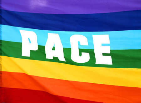 pace: Italian rainbow Peace flag with big written PACE Stock Photo
