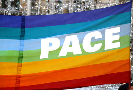 pace: Italian Peace flag with big written PACE