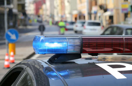 Police car: patrol car police patrol in the city before the arrival of the authorities Stock Photo