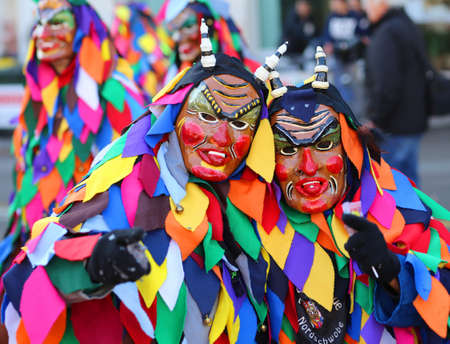carnevale: Vicenza, Italy. 15th January 2016. Euro-Carnival 2016 and XXIII Guggenmusik Festival. Thousands of musicians from Europe dressed in mask and costume parade