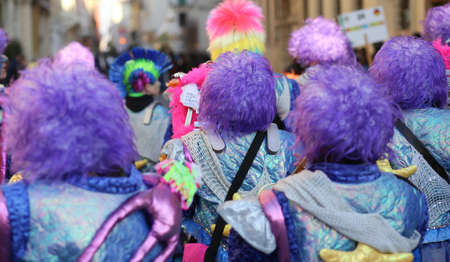 carnevale: Vicenza, Italy. 15th January 2016. Euro-Carnival 2016 and XXIII Guggenmusik Festival. Thousands of musicians from Europe dressed in mask and costume parade through the streets Editorial