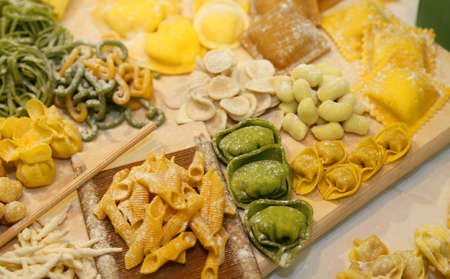 pastasciutta: ravioli tortellini and gnocchi pasta homemade with eggs and flour  and water Stock Photo