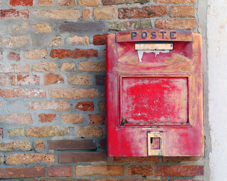 italian red mailbox where to mail letters and postcards