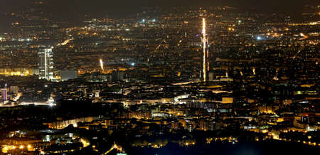 populous: night aerial view of the populous European metropolis with many city lights Editorial