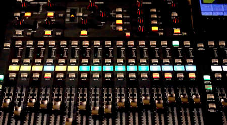 equaliser: Audio Control surface of a great HiFi system with many leds and buttons Stock Photo