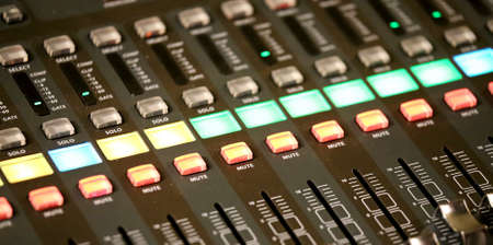 hi fi: mixing console of a complicated system hi fi during rock concert
