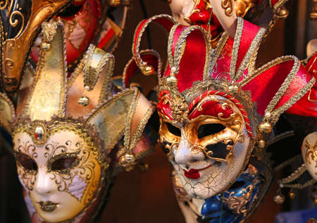 prankster: Venice Italian red and golden carnival mask for sale in the shop