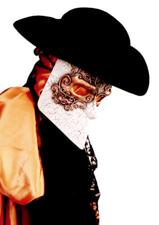 nobleman: Venice Italy carnival costume of a nobleman with black hat Stock Photo