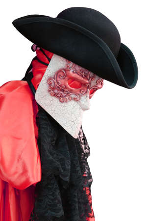 nobleman: Italy Venice carnival costume of an ancient Venetian nobleman with  mask and black hat