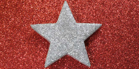 silver star: silver star of sheriff shining bright red background Stock Photo