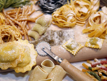 semolina pasta: sizes of fresh pasta made at home by a good housewife Stock Photo