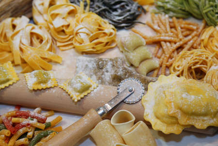 pastasciutta: ravioli and other homemade pasta in Italy with egg and flour