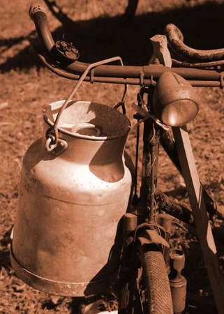 milkman: old bicycle of the last century used to transport the milk by milkman