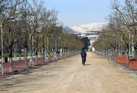 macadam: long Avenue in the middle of the public park called CAMPO MARZO Vicenza in Italy Stock Photo
