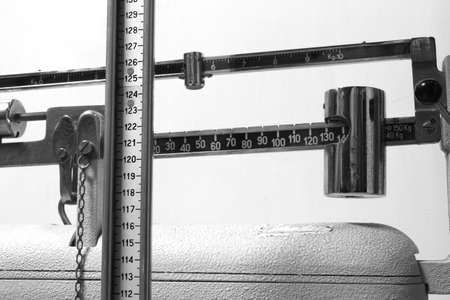 metering: old scales in the medical clinic of the pediatrician