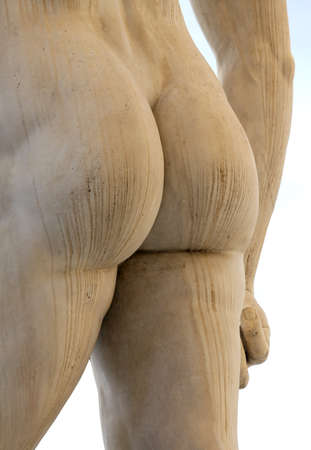 anal: back of the marble statue with white buttocks Stock Photo