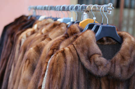 valuable: valuable fur coat for sale in the flea market