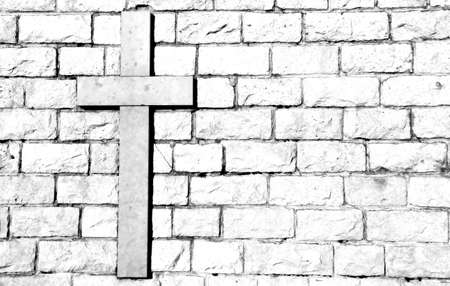 religiosity: symbol of the cross carved on marble attached to the stone wall
