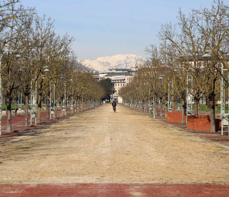 macadam: Avenue in the middle of the public park called CAMPO MARZO in the city of Vicenza in Italy