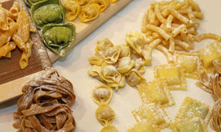 pastasciutta: ravioli and other fresh homemade pasta in Italy with egg and flour
